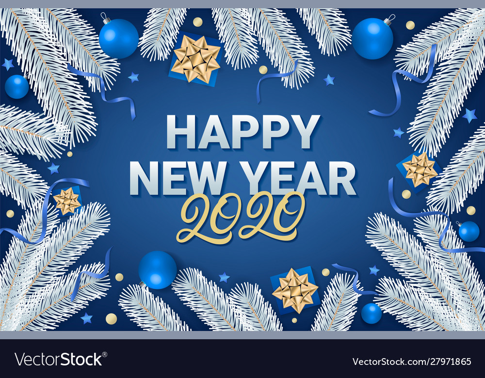 Happy new year 2020 lettering text