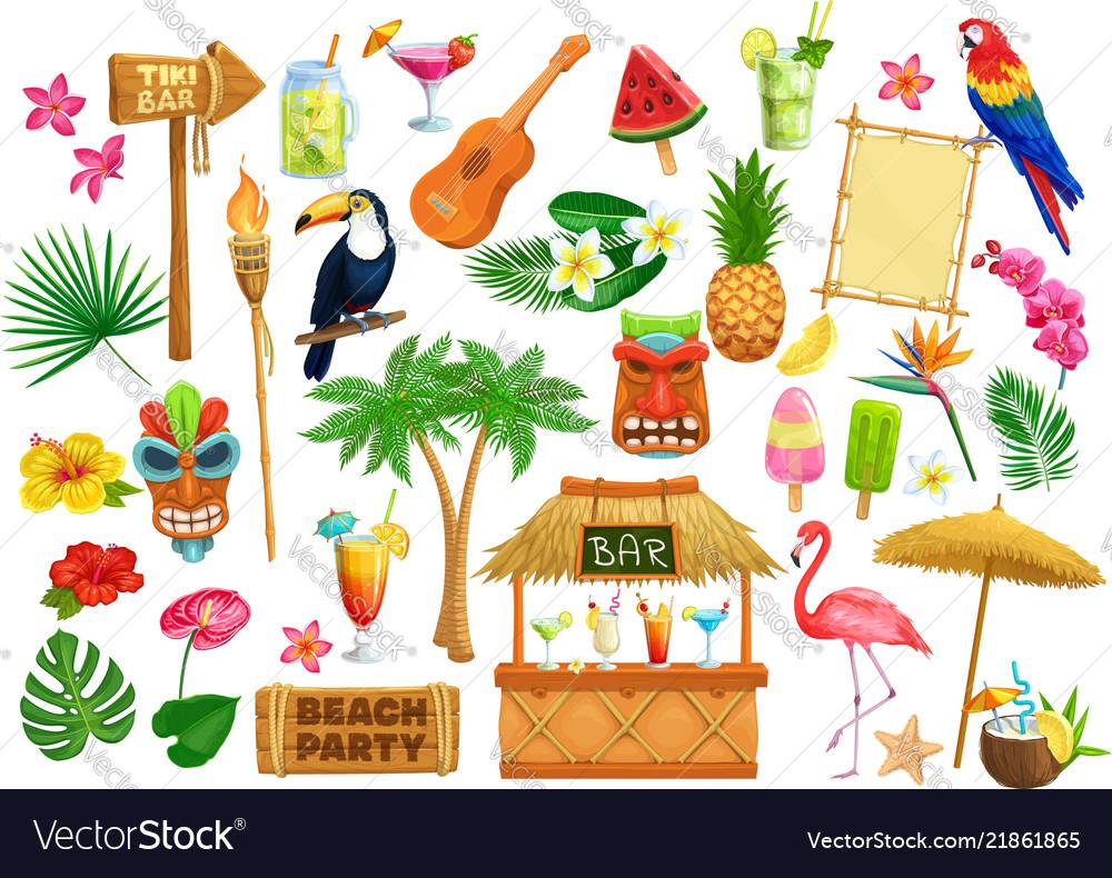 Hawaiian beach party icons
