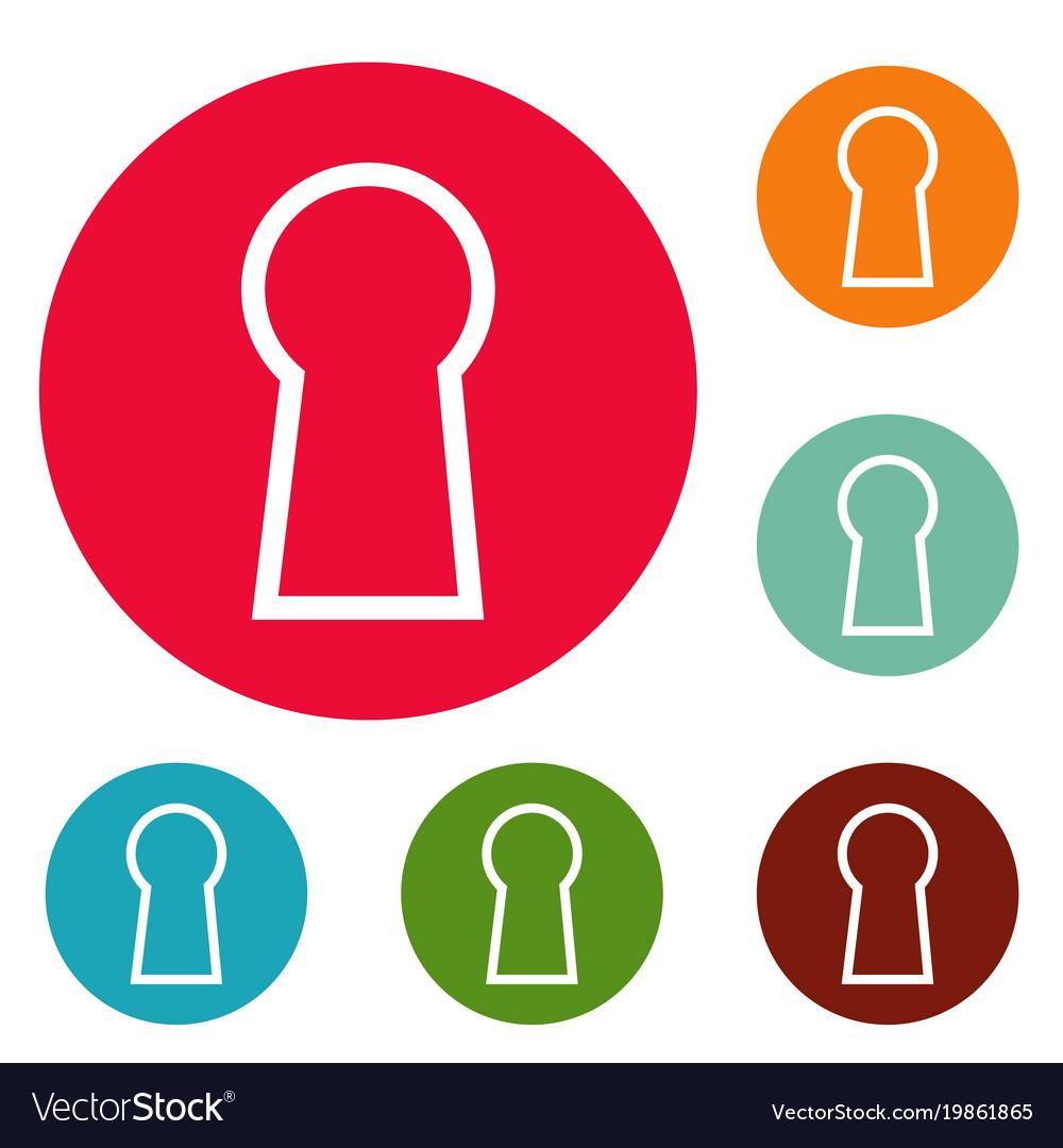 Keyhole icons circle set vector image