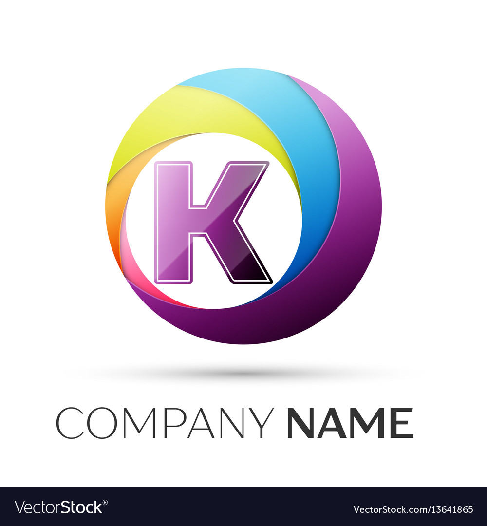 Letter k logo symbol in the colorful circle on