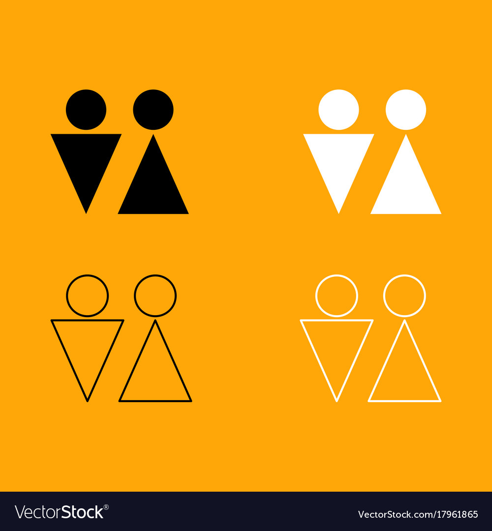 Man and woman black and white set icon vector image