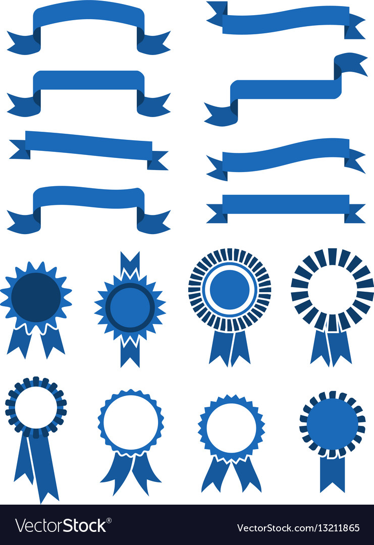 Retro blue banner ribbons and badges for