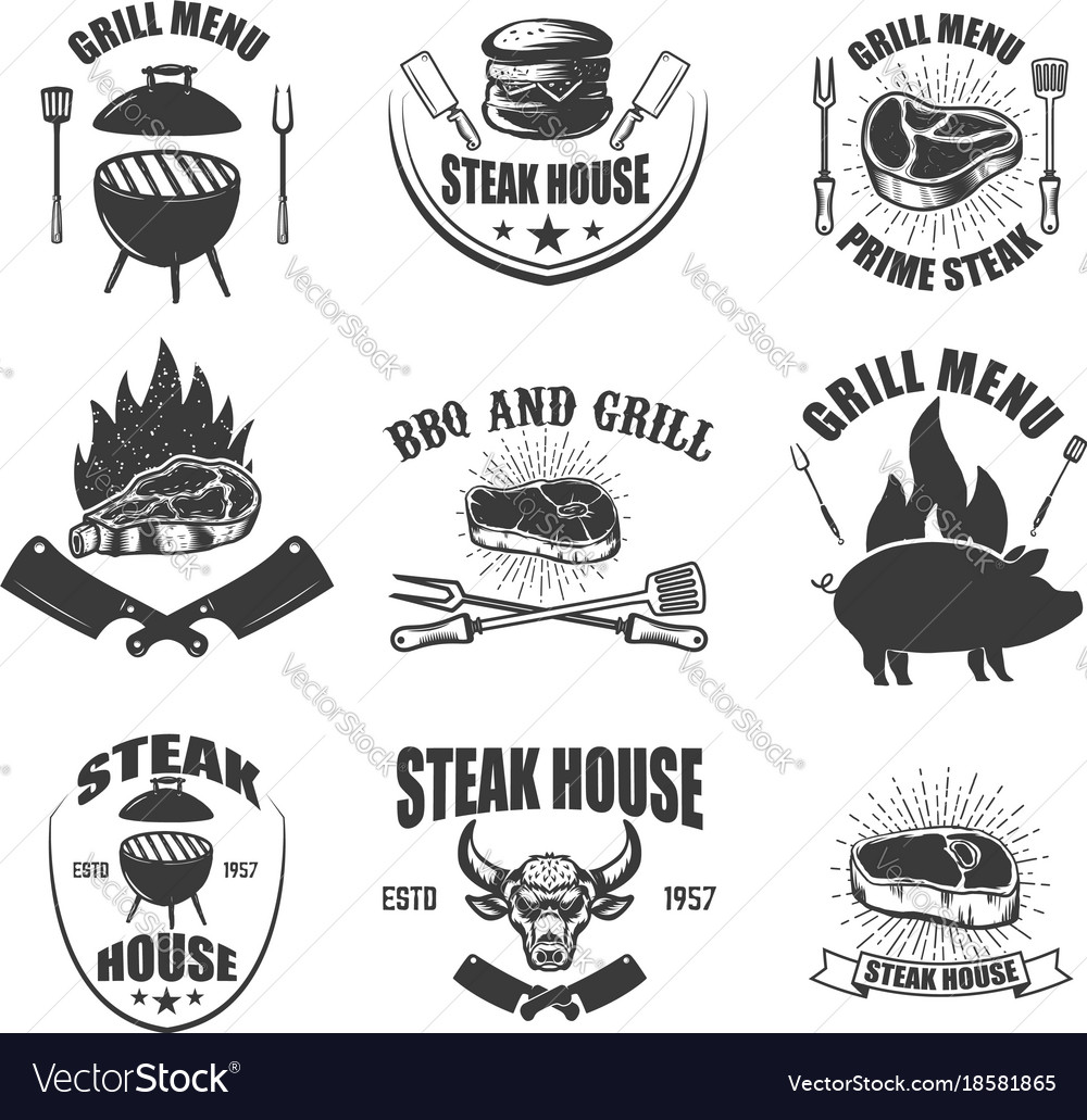 Set of steak house emblems bbq and grill