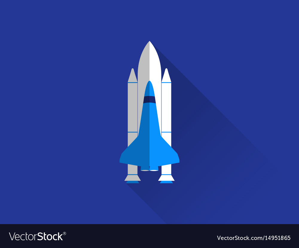 Space shuttle in a flat style with a long shadow