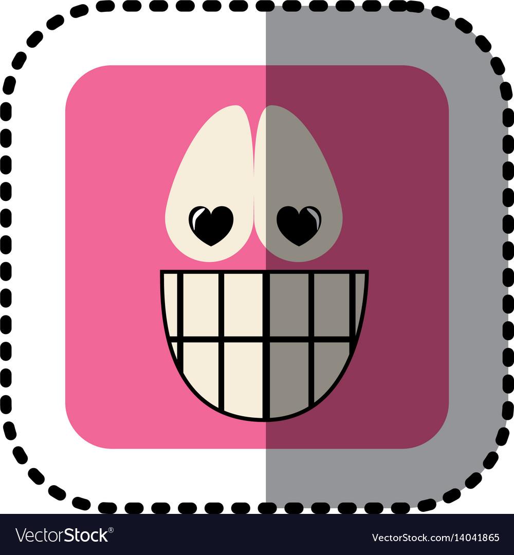 Sticker square colorful shape emoticon happy in