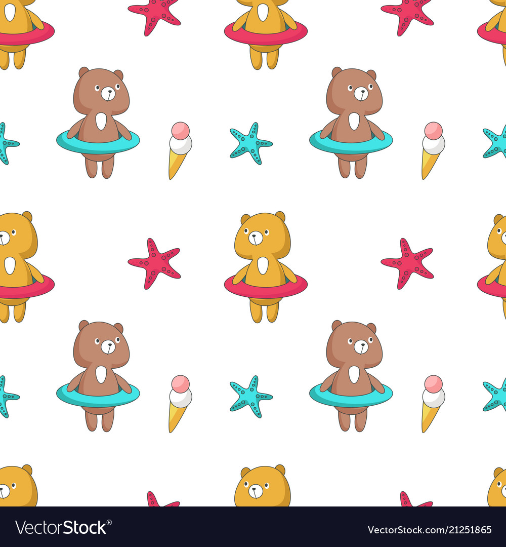 Summer seamless pattern with funny bear