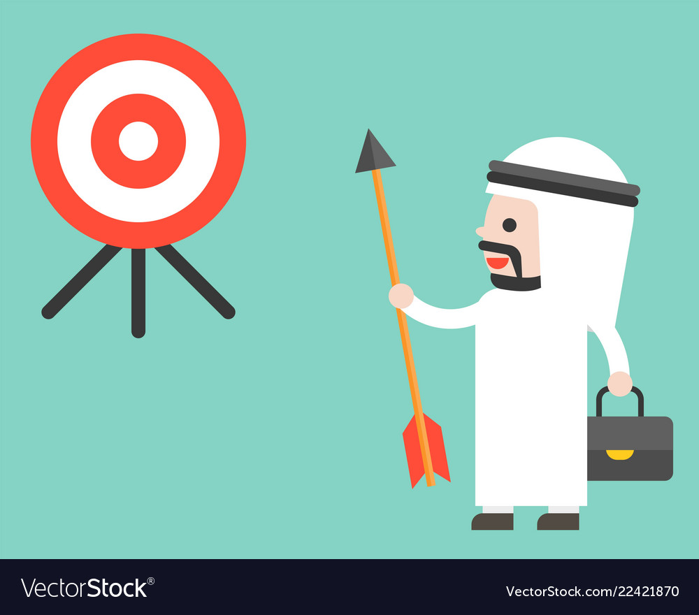 Arab businessman holding arrow and look at target