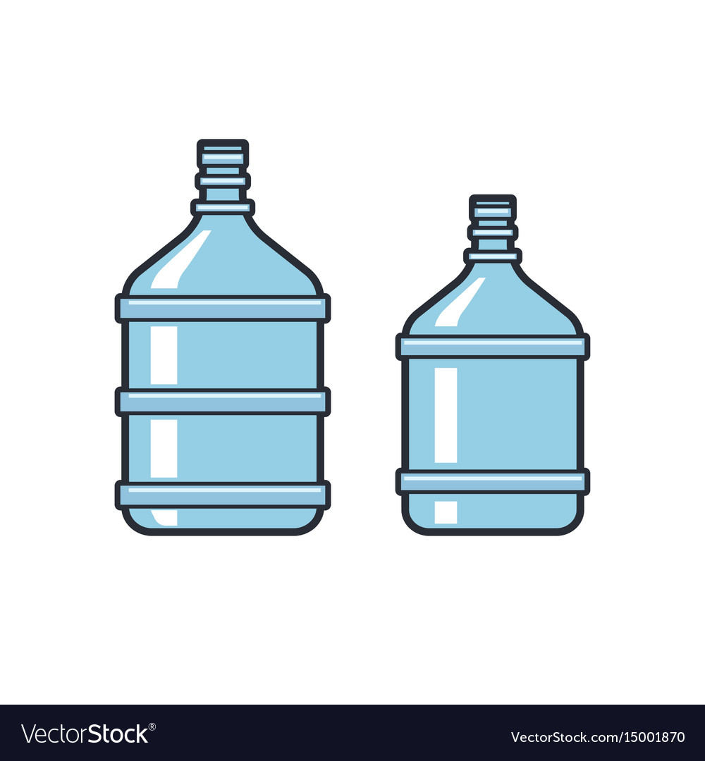 Big bottles with clean water flat icons plastic