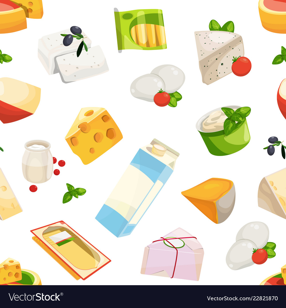 Cartoon dairy and cheese products pattern