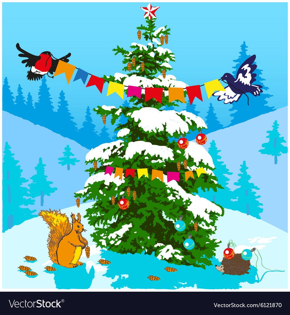 Christmas tree and animals vector image