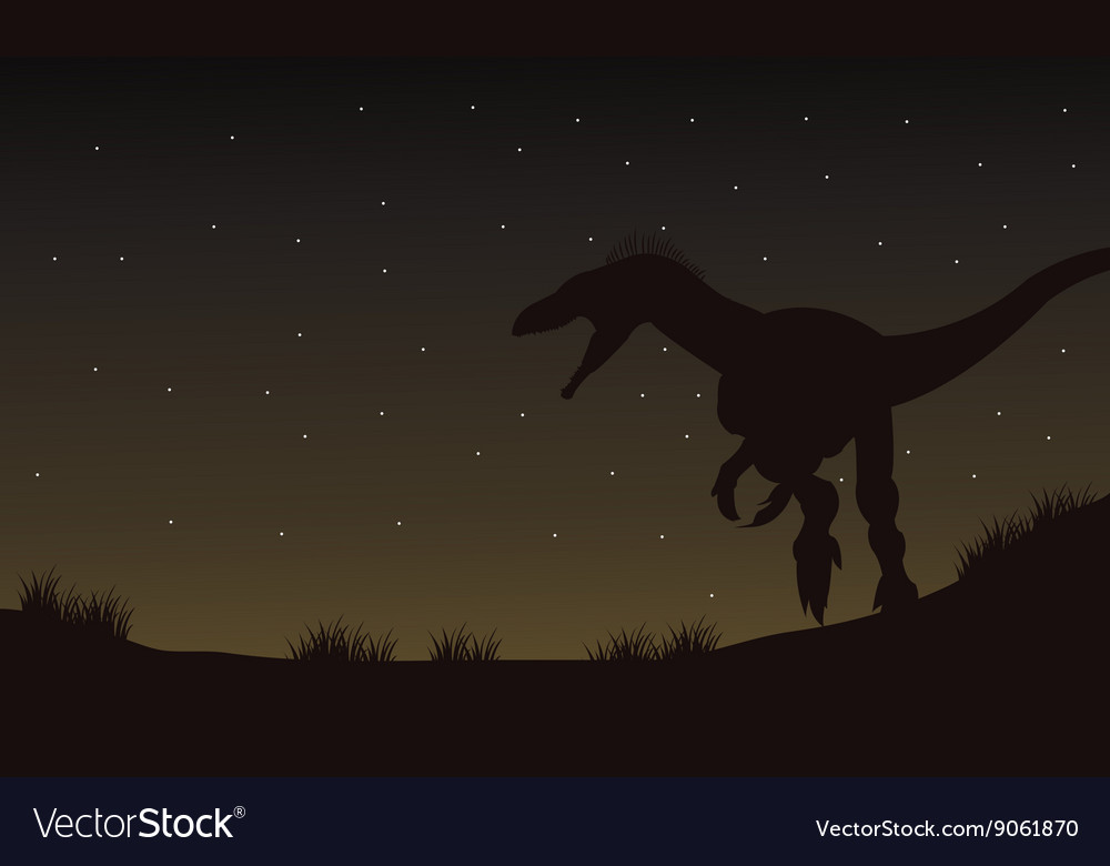 Eoraptor in fields at the night silhouette