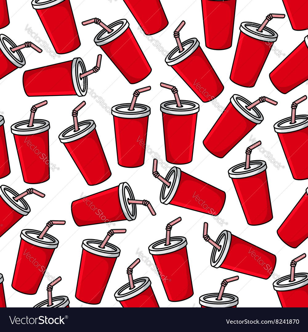 Fresh soda paper cups seamless pattern
