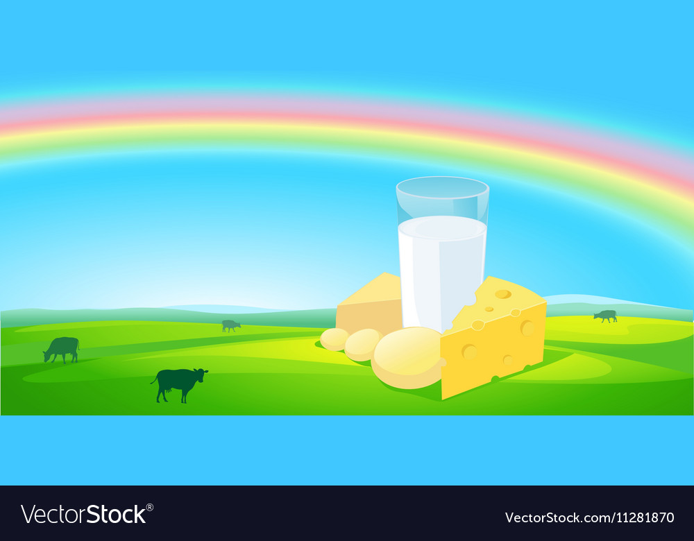 Milk products with rainbow natural background vector image