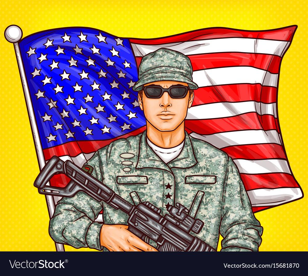 Pop art patriotic a male