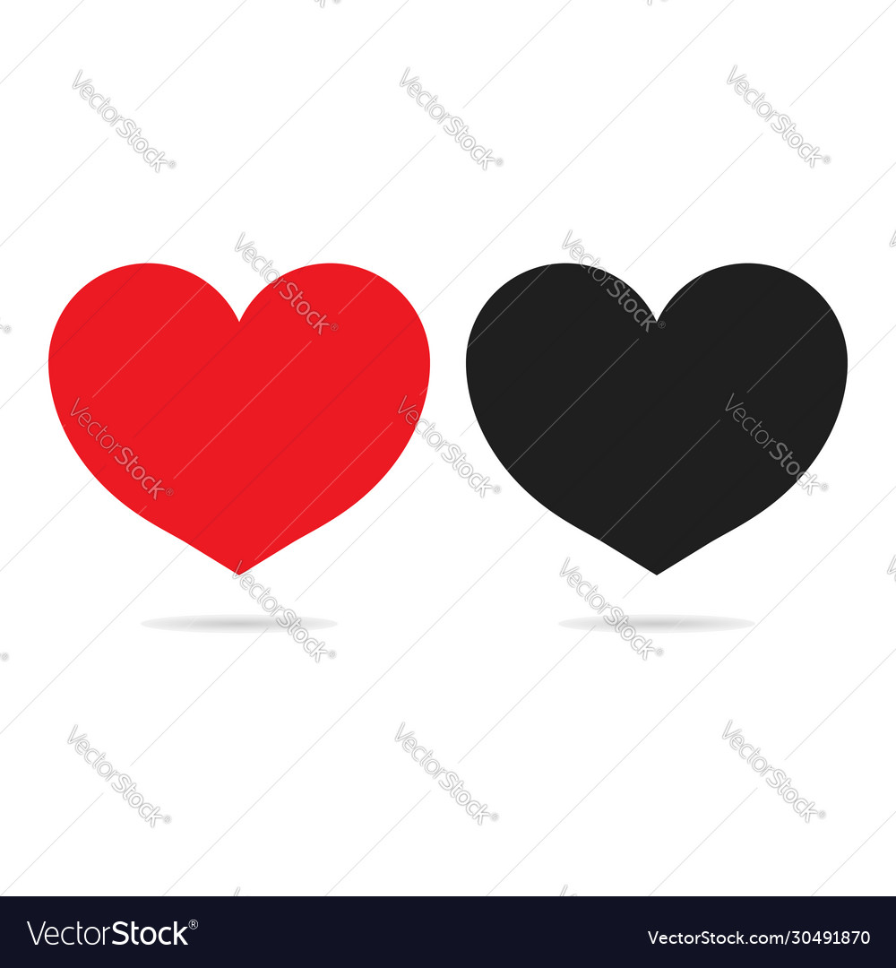 red and black heart icons isolated on white vector 30491870