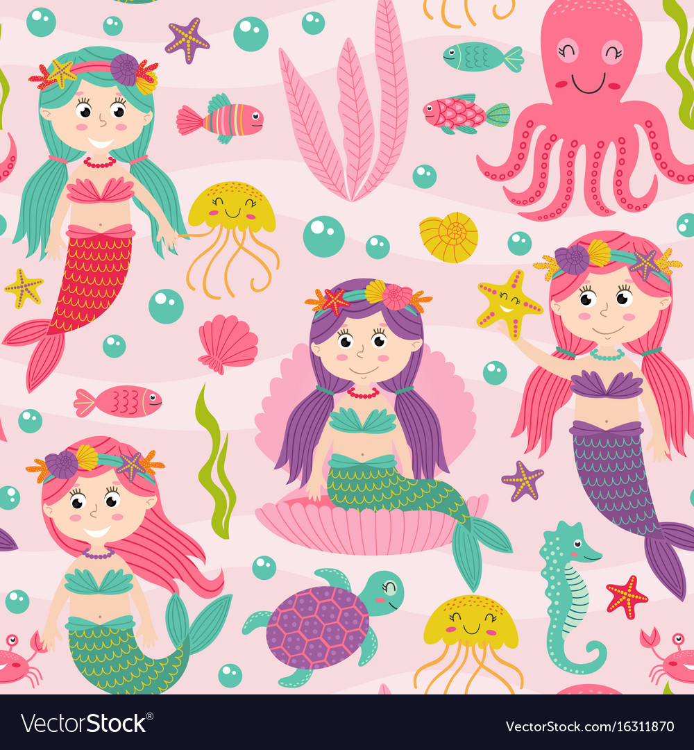 Seamless pattern pink with mermaid
