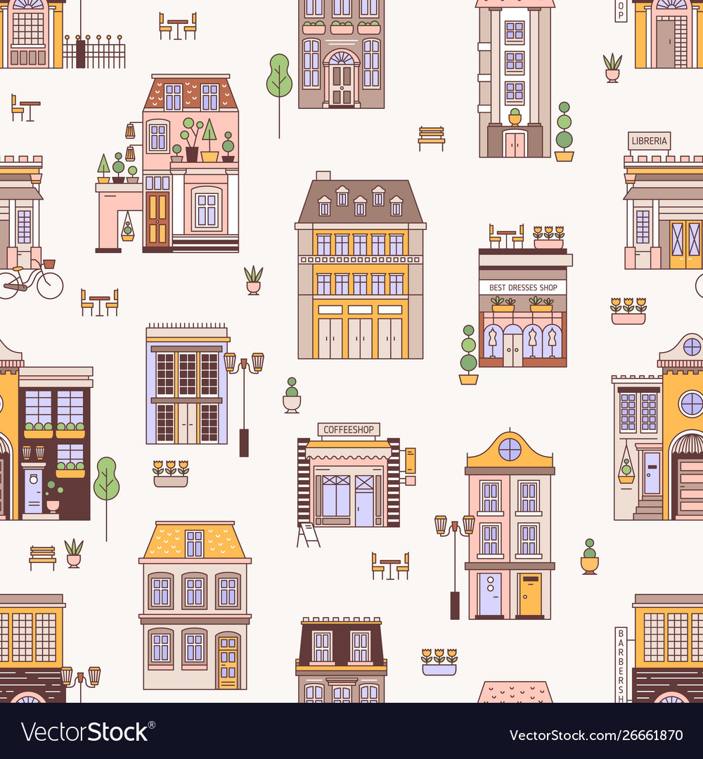 Seamless pattern with city buildings elegant