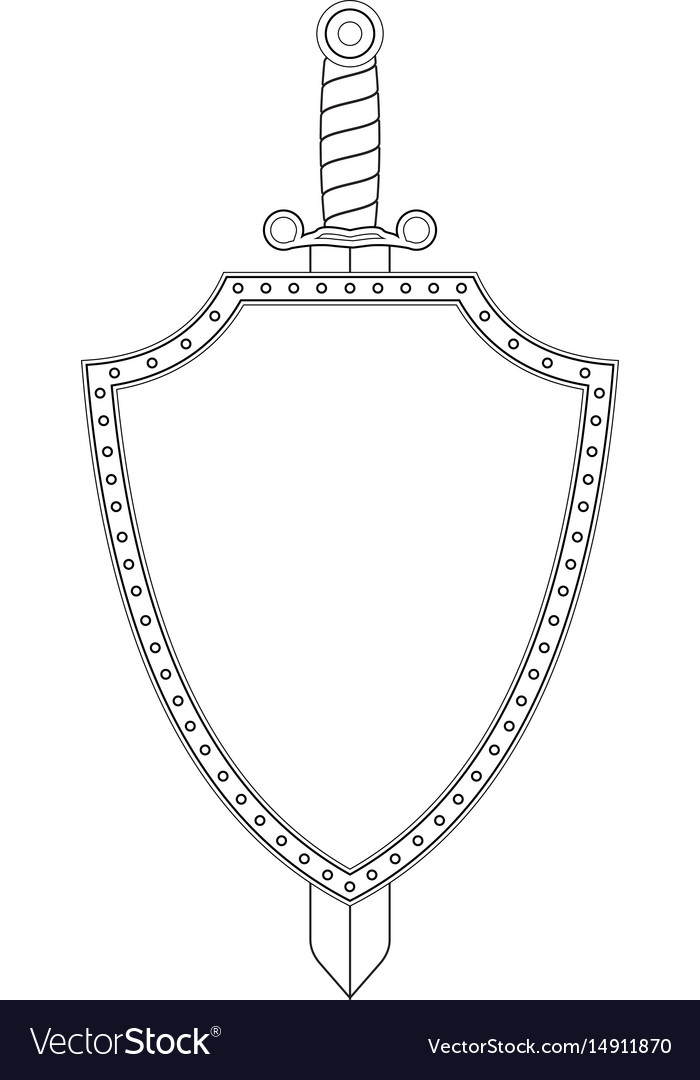 Shield and sword icon isolated