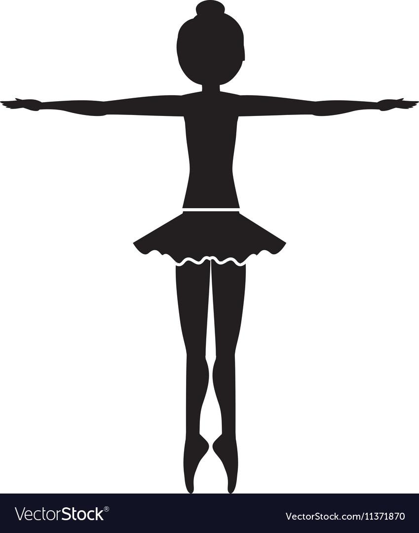 Silhouette dancer fifth position entrechat vector image