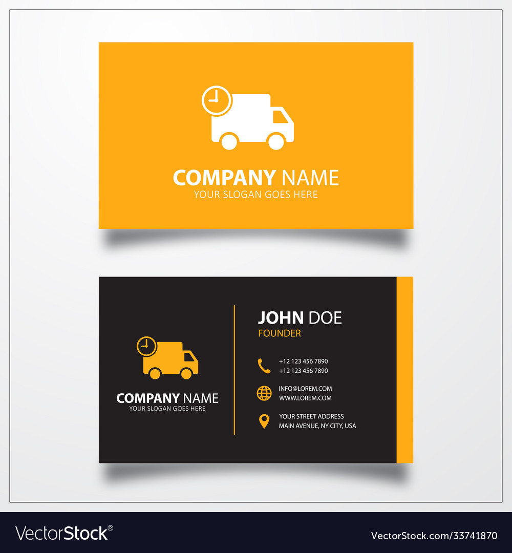 Truck with time fast delivery icon business card