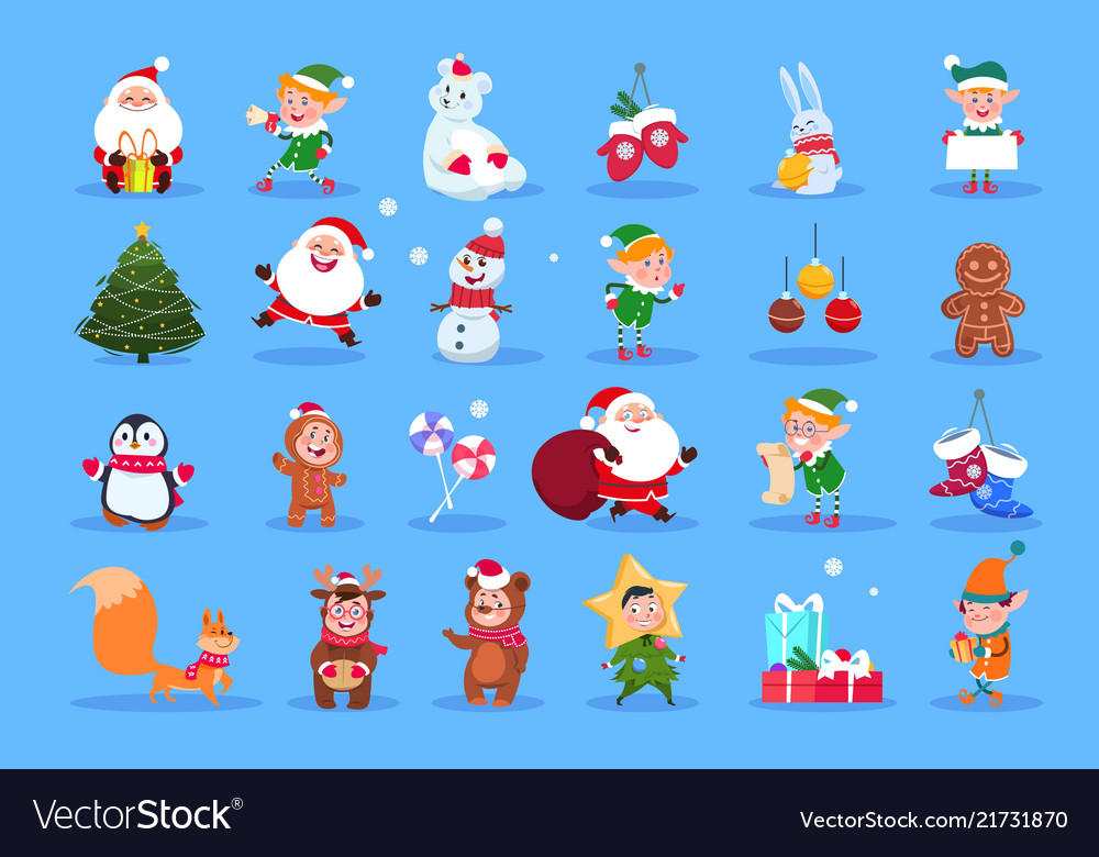 Winter characters cartoon santa elves and winter