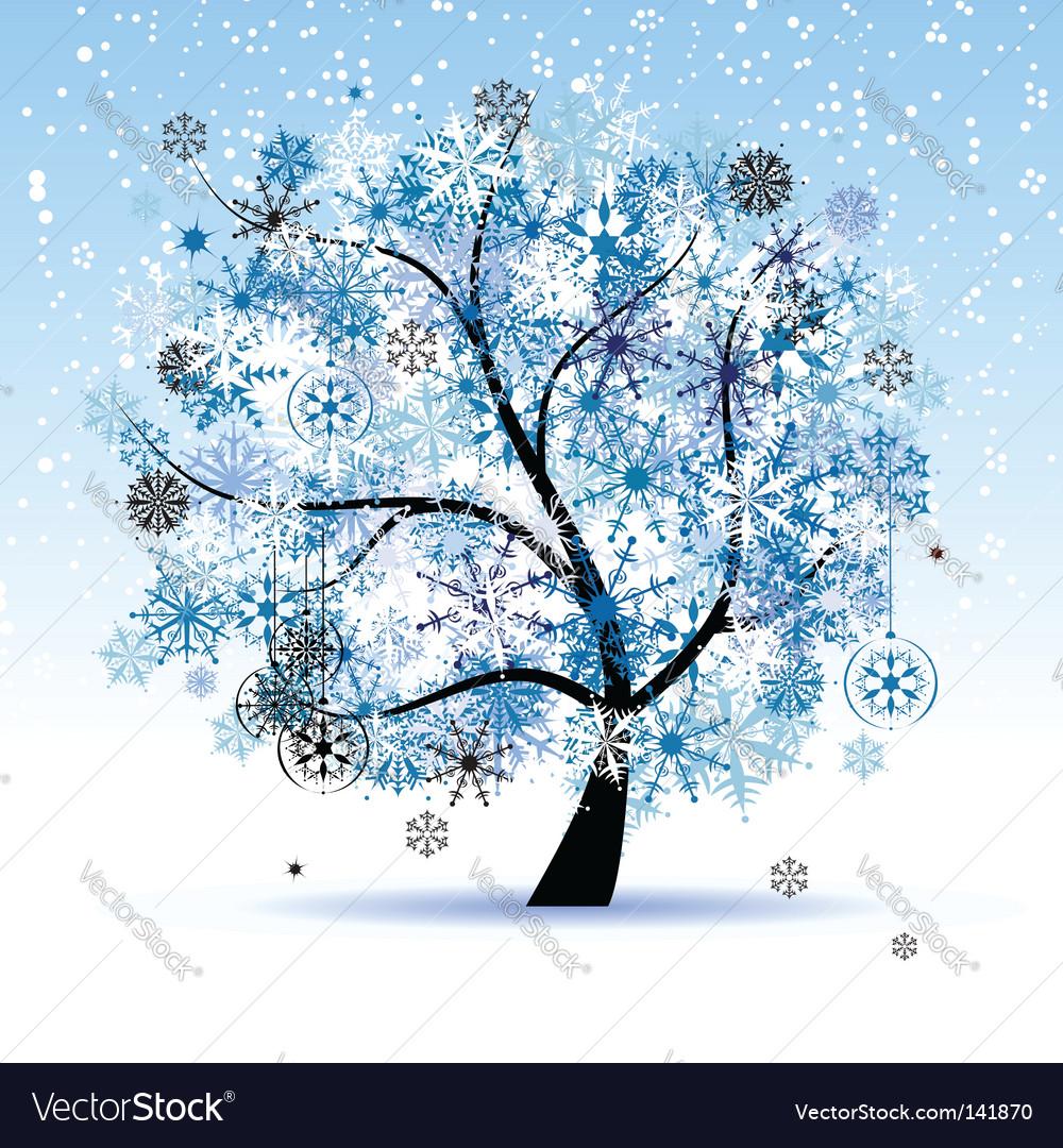 Winter Tree Snowflakes Christmas Holiday Vector Image