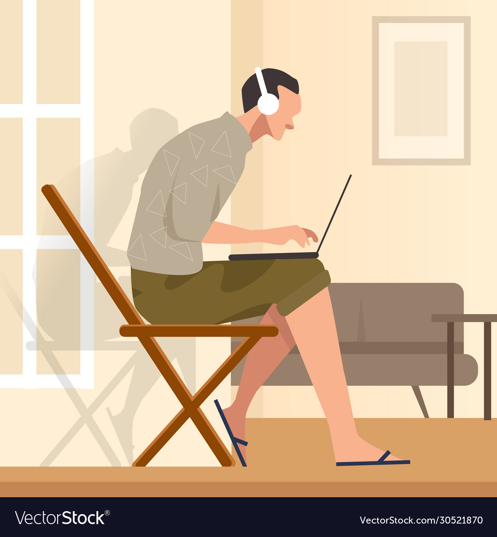 Working from home sitting in chair while looking