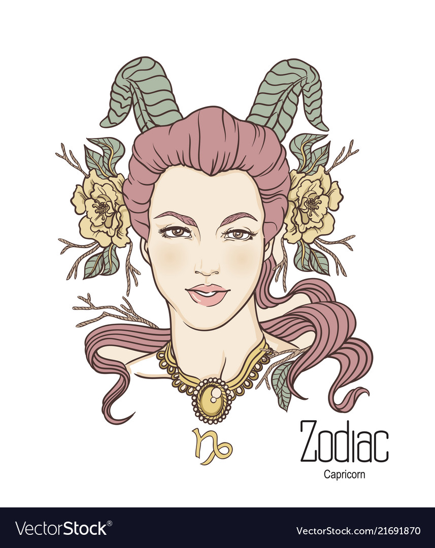 Zodiac Of Capricorn As Girl With Royalty Free Vector Image