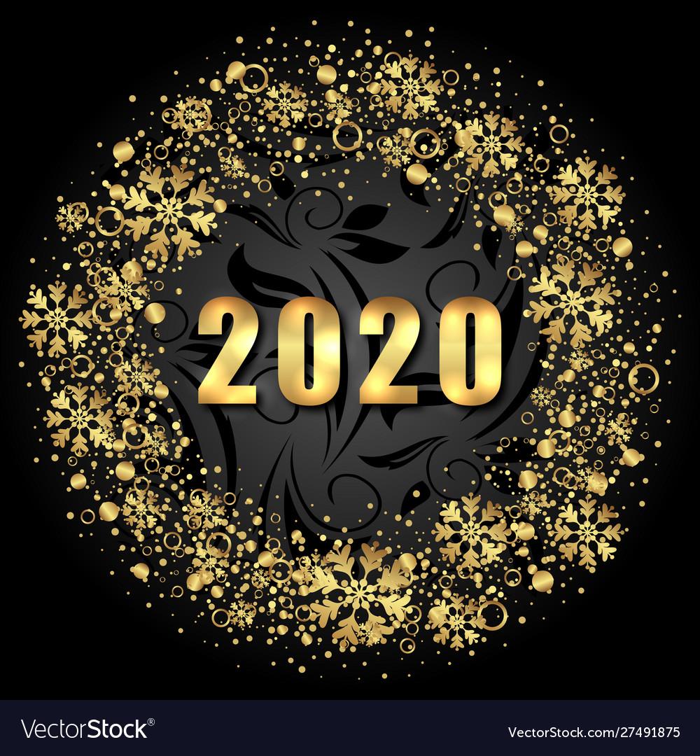 2020 text golden shimmer design with light