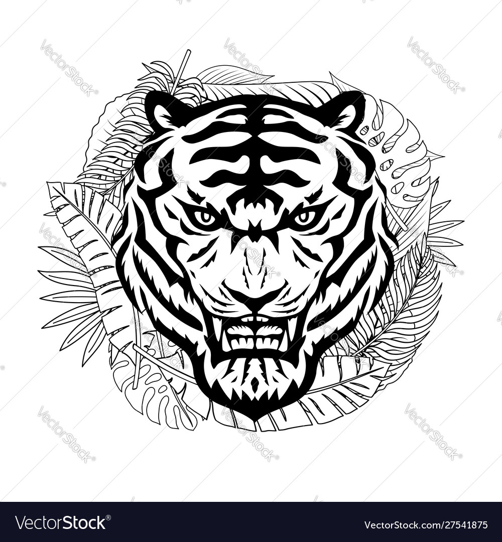 Angry tiger and tropical leaves