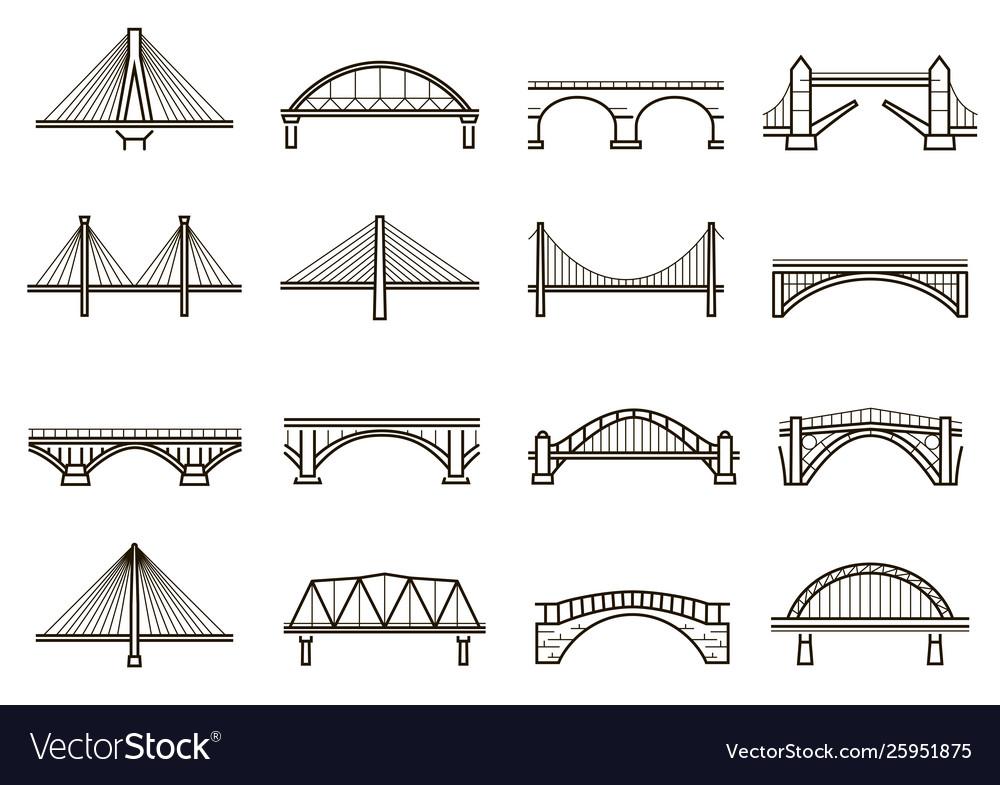 Bridges line icon set city architecture