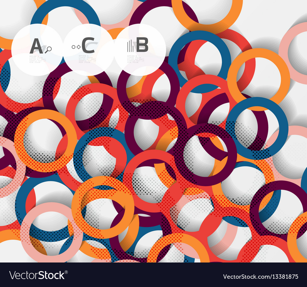 Color rings with shadows on gray abstract