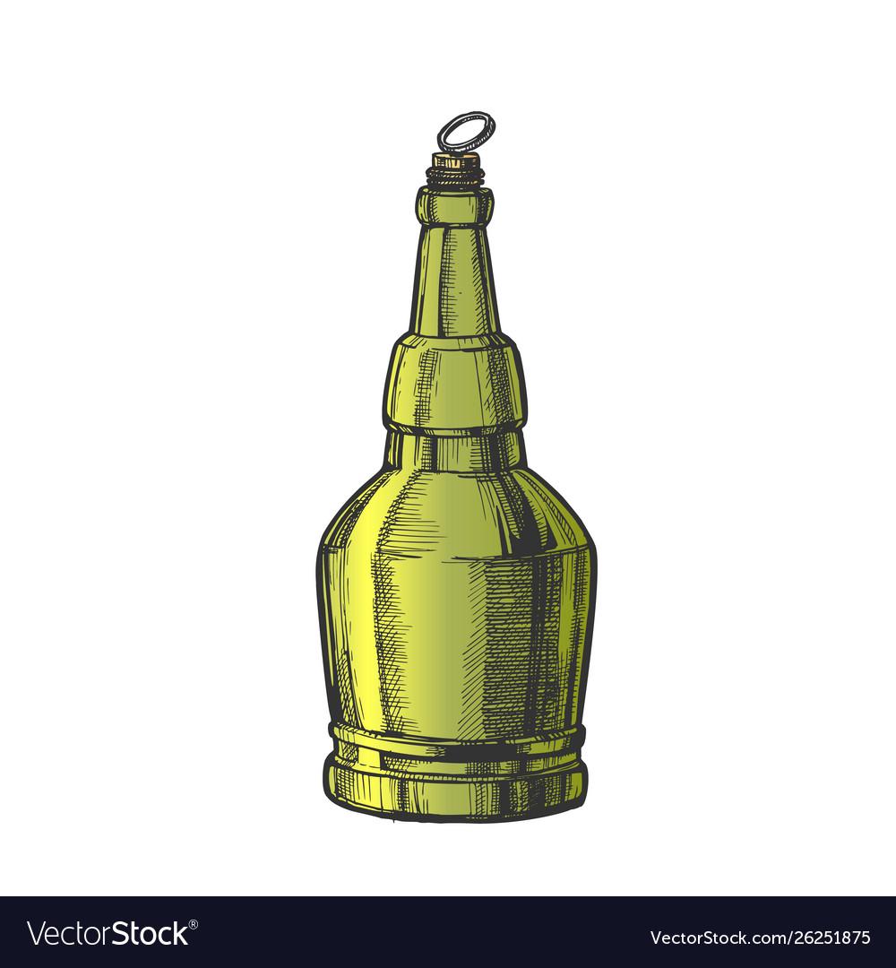 Hand drawn screw cap color bottle of beer