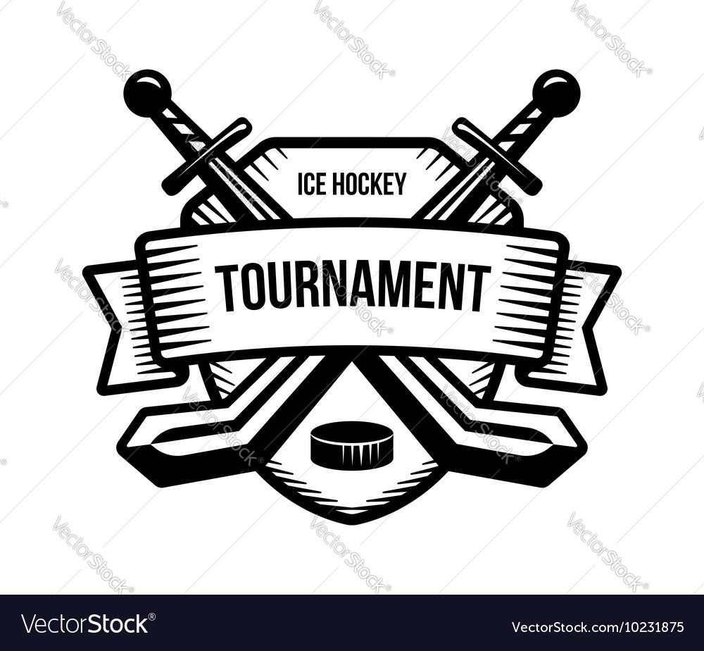 Ice Hockey Sport Tournament Logo Royalty Free Vector Image