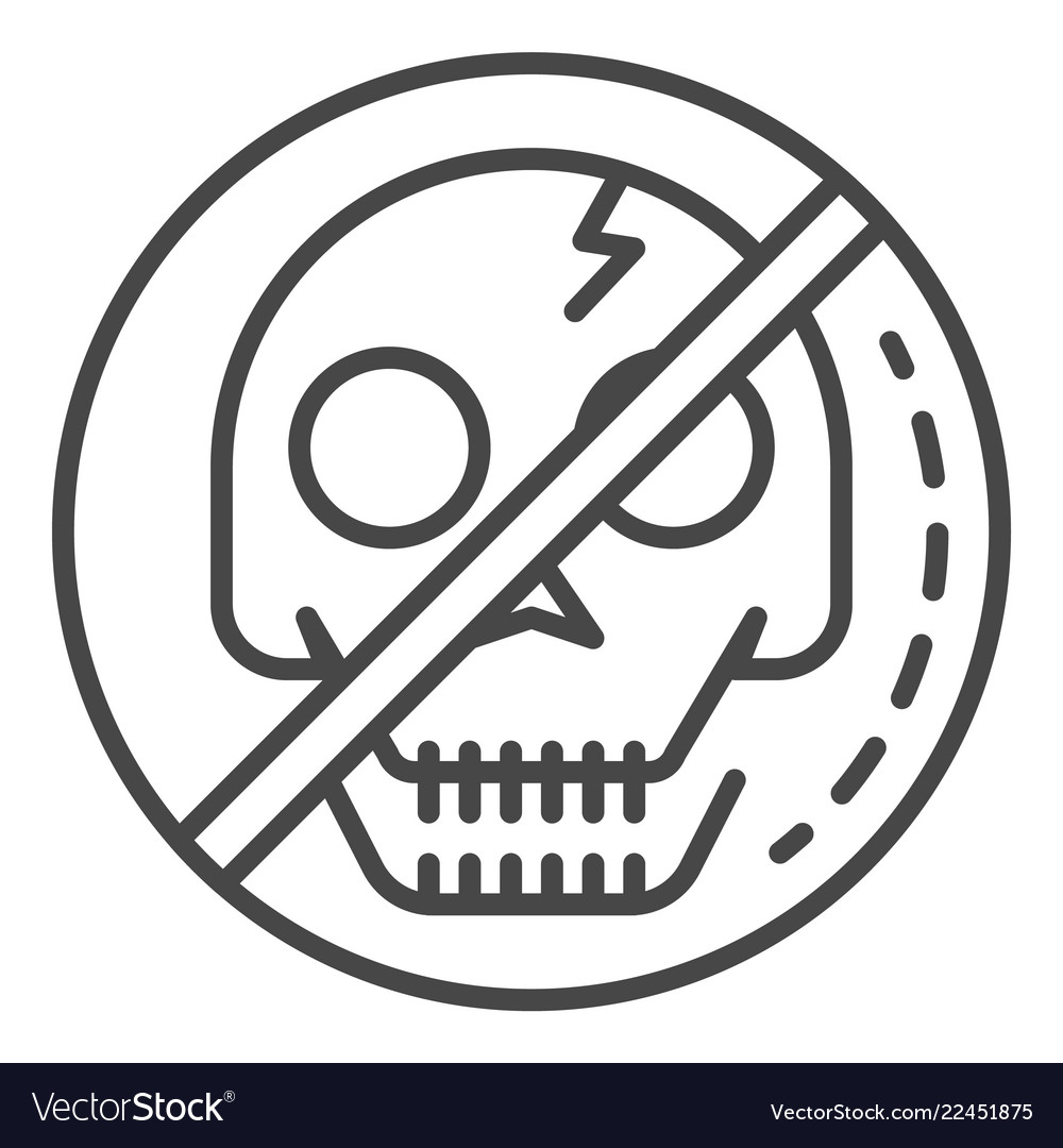 No skull sign icon outline style