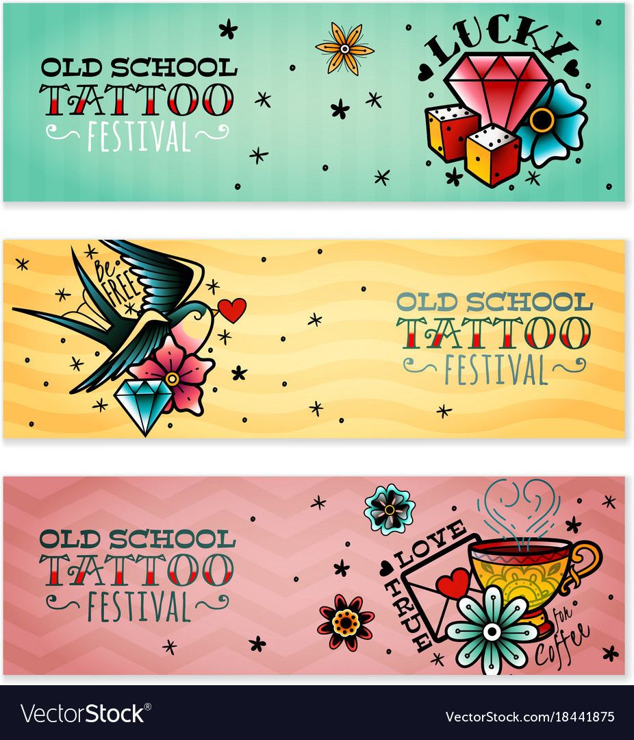 Old school tattoo banners set