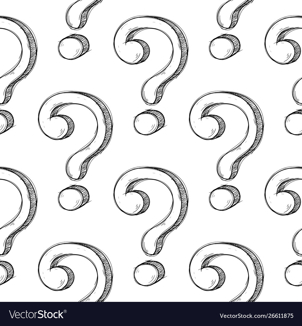 Question marks in seamless pattern hand drawn