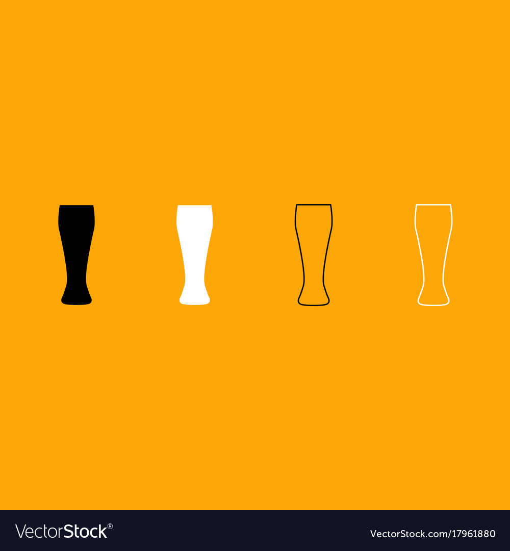 Beer glass black and white set icon