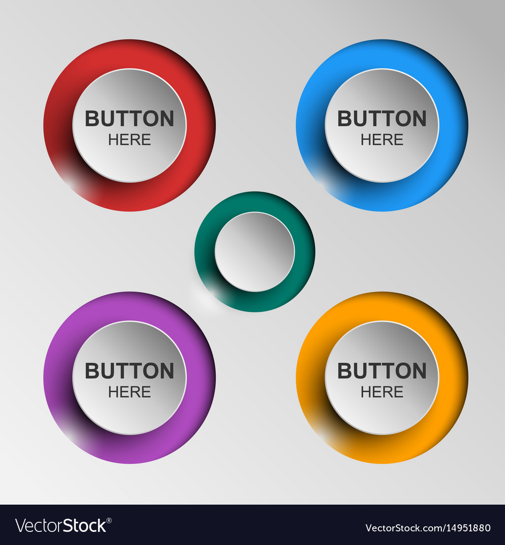 Button icons flat color shadow vector image