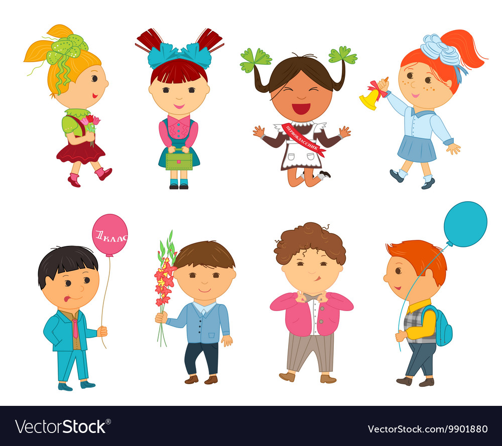 Cartoon kids back to school vector image