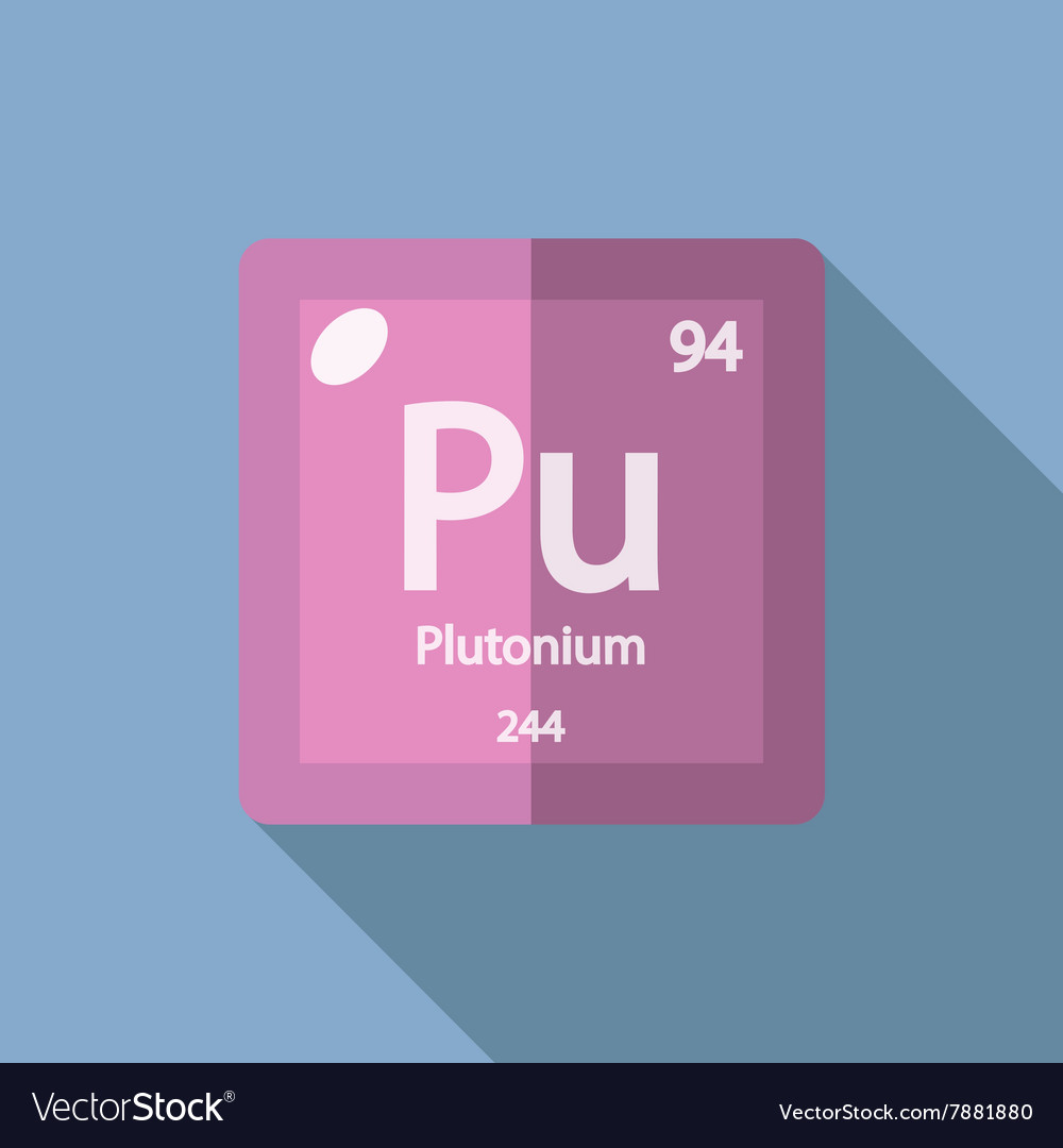 Chemical element Plutonium Flat vector image