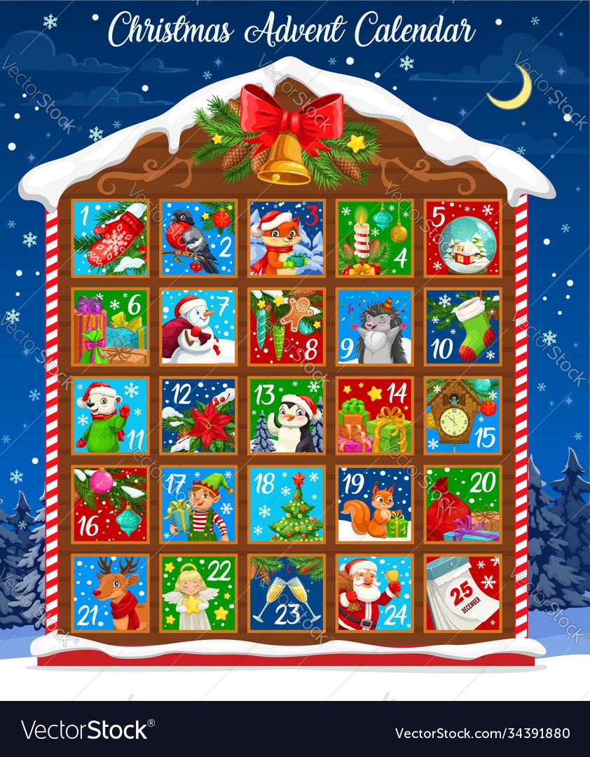 Christmas winter holiday advent calendar template