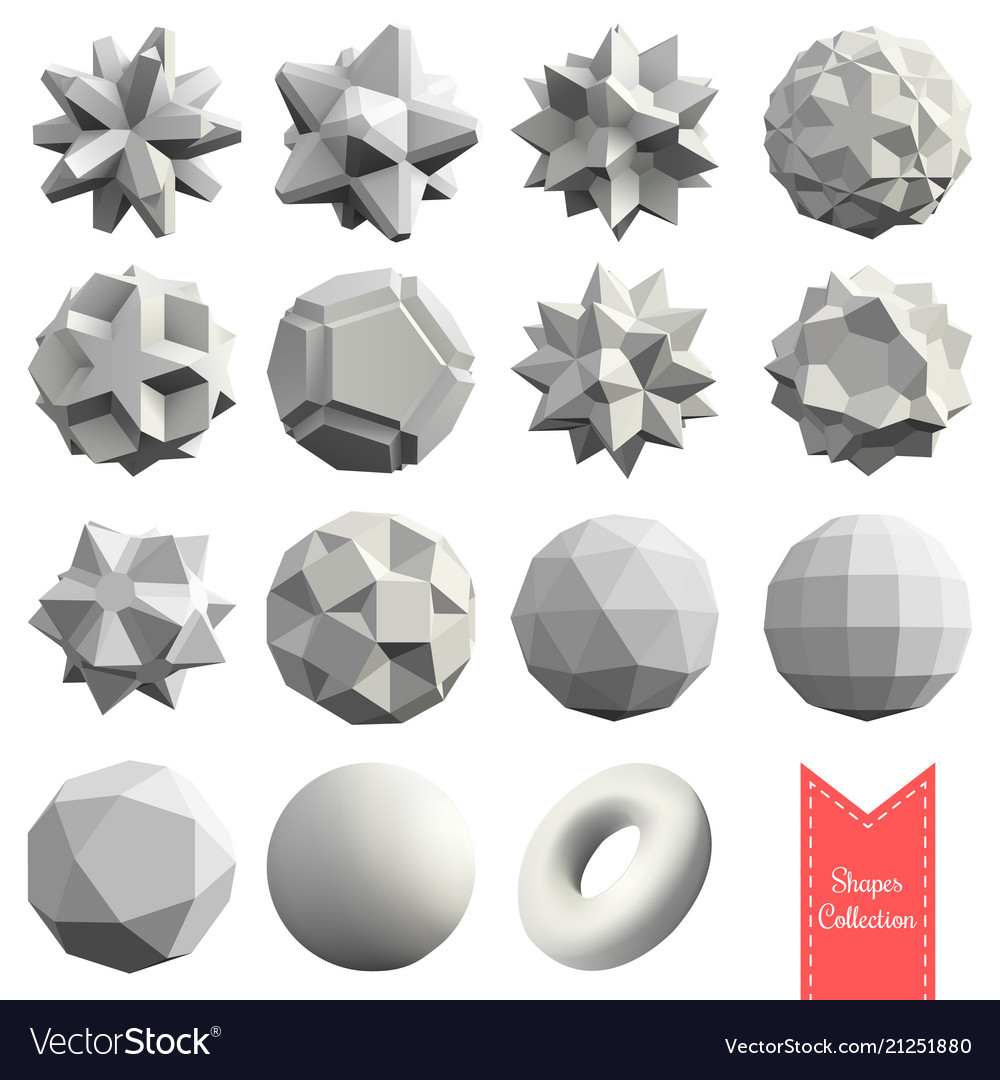 Collection of 15 3d geometric shapes