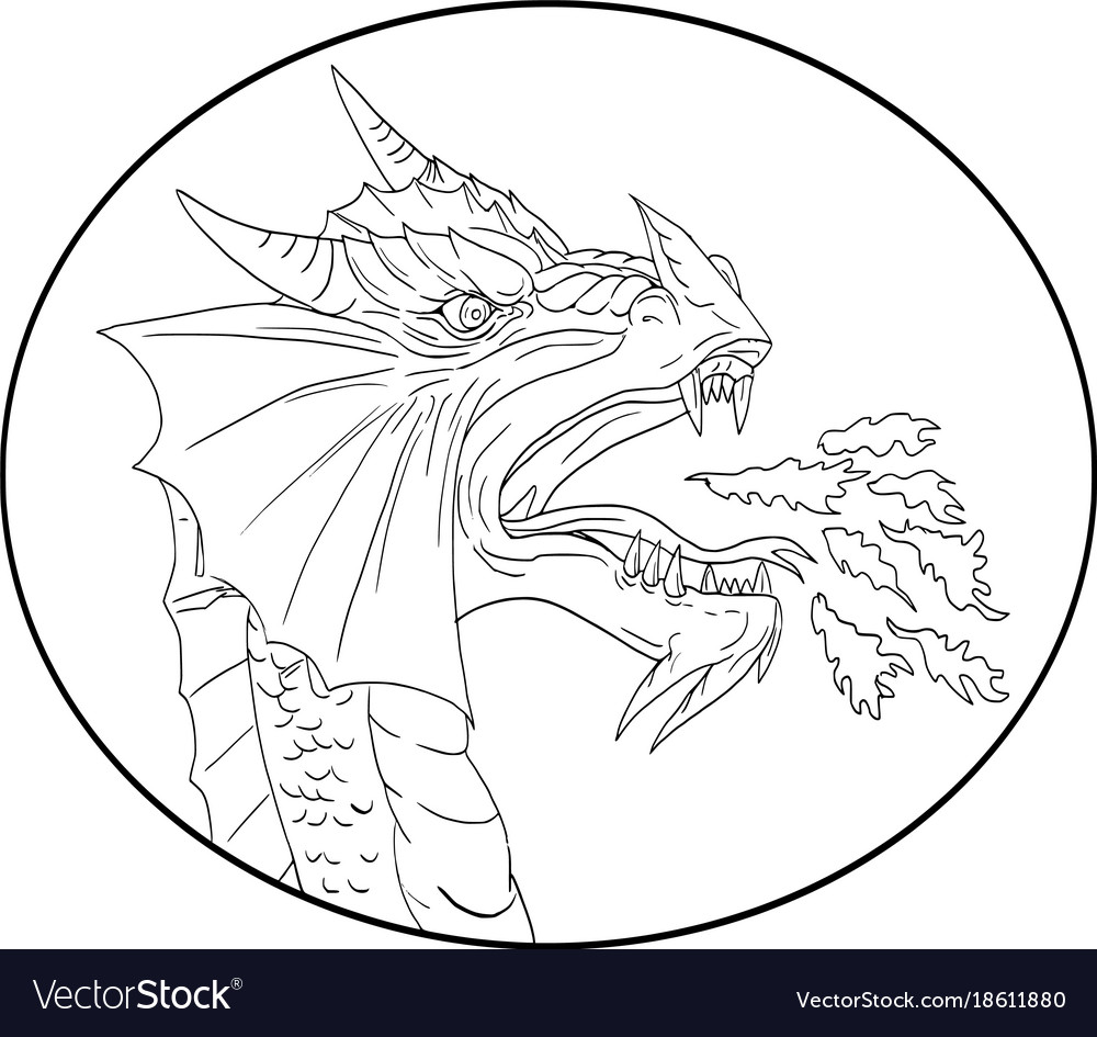 Dragon fire circle drawing