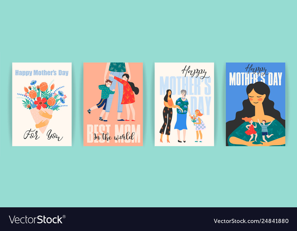 Happy mothers day templates with women and