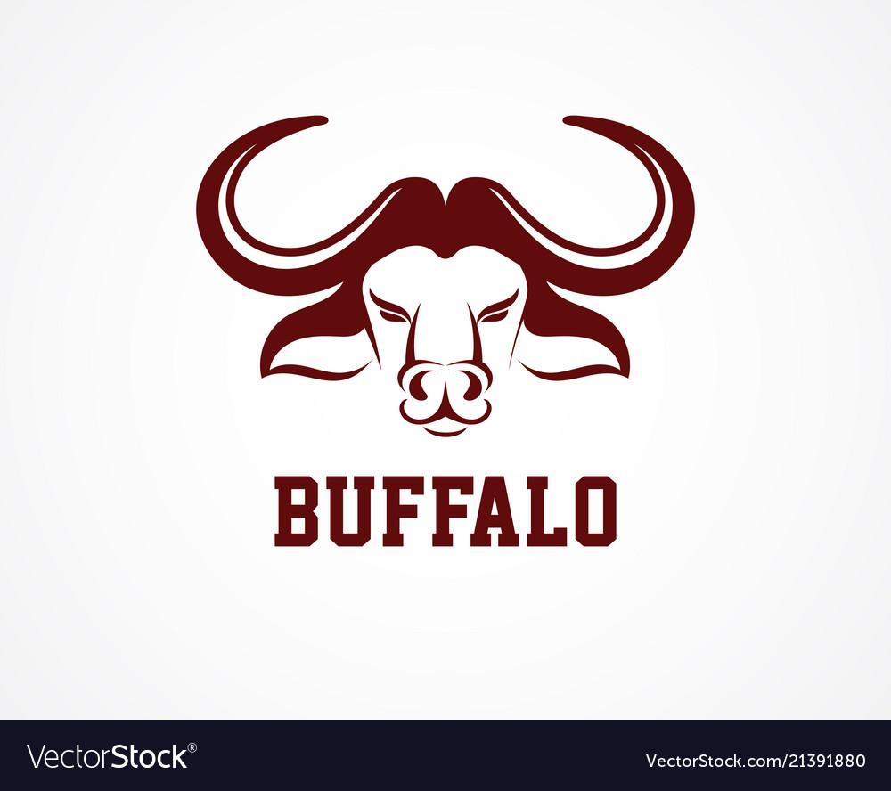 Head of bull buffalo logo and symbol