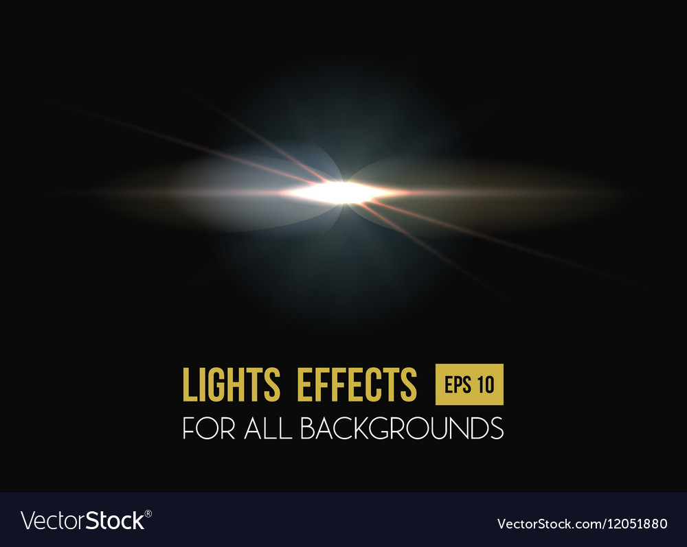 Solar flare or sun rays light effect background vector image