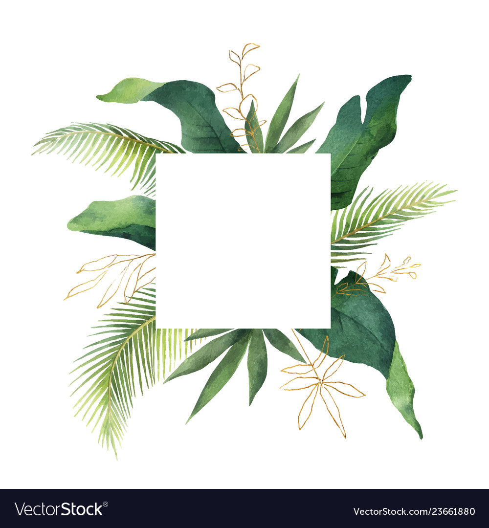 Watercolor green card tropical leaves and