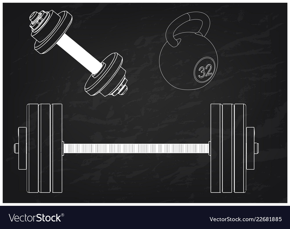 Barbell and dumbbell on a black