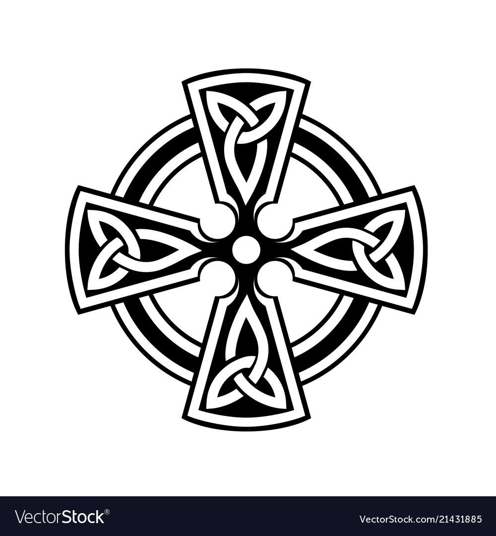 Celtic cross symbol on white background